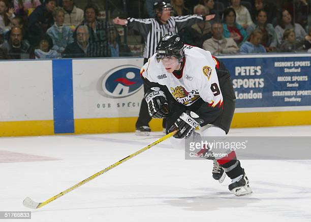 Bobby Ryan of the Owen Sound Attack skates against the London Knights during an OHL game at the John Labatt Center on October 15 2004 in London...