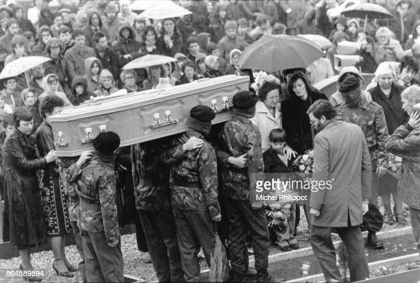 Bobby Sands, a Catholic M.P. For Ulster died in prison after 66 days of hunger strike.