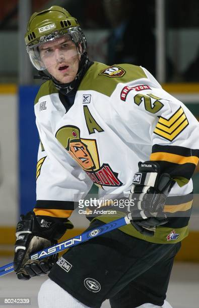 Bobby Sanguinetti of the Brampton Battalion skates in a game against the Peterborough Petes on March 12 2008 at the Peterborough Memorial Centre in...