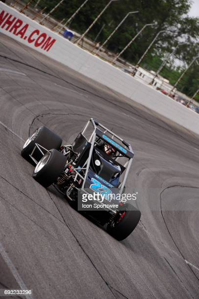 Bobby Santos DJ Racing makes a lap in time trials for the Carb Night Classic United States Auto Club Silver Crown Champ Car Series 100lap feature...