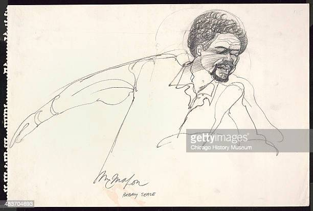Bobby Seale leaning forward in a courtroom illustration during the trial of the Chicago Eight Chicago Illinois late 1969 The Eight or Seven as they...