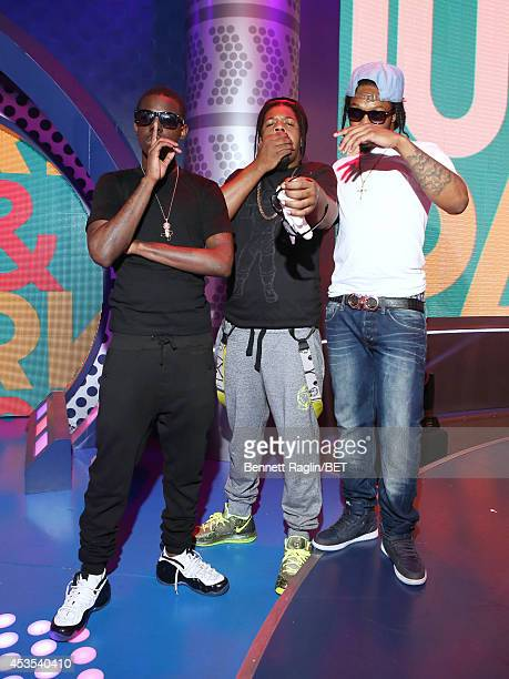 Bobby Shmurda Rowdy Rebel and Outragous Papa Planes visit 106 Park at BET studio on August 11 2014 in New York City