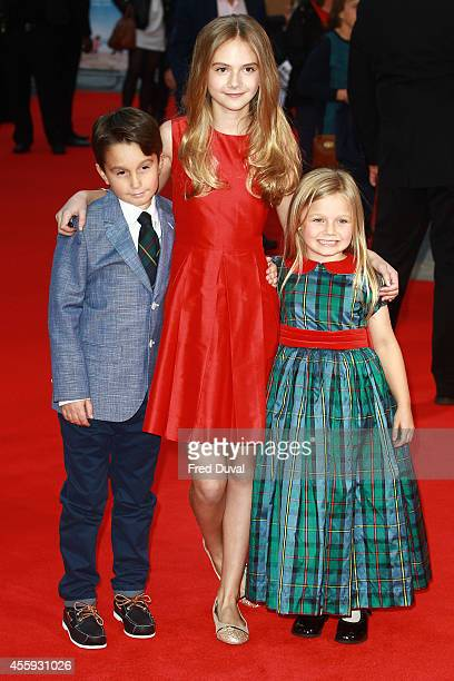 Bobby Smalldridge Emilia Jones and Harriet Turnbull attend the What We Did On Our Holiday World Premiere at Odeon West End on September 22 2014 in...