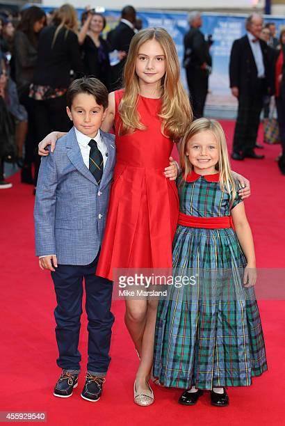 Bobby Smallridge Emilia Jones and Harriet Turnbull attend the World Premiere of 'What We Did On Our Holiday' at Odeon West End on September 22 2014...