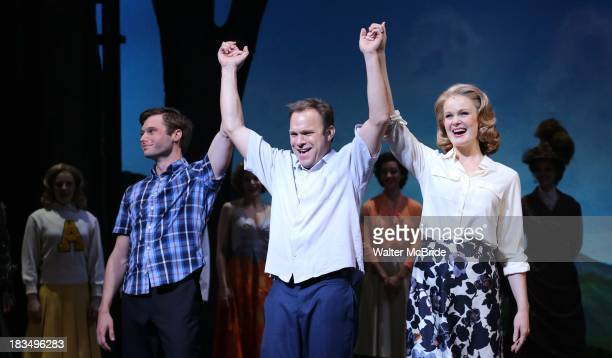 Bobby Steggert Norbert Leo Butz and Kate Baldwin take a bow during the Curtain Call for the 'Big Fish' Broadway Opening Night at Neil Simon Theatre...