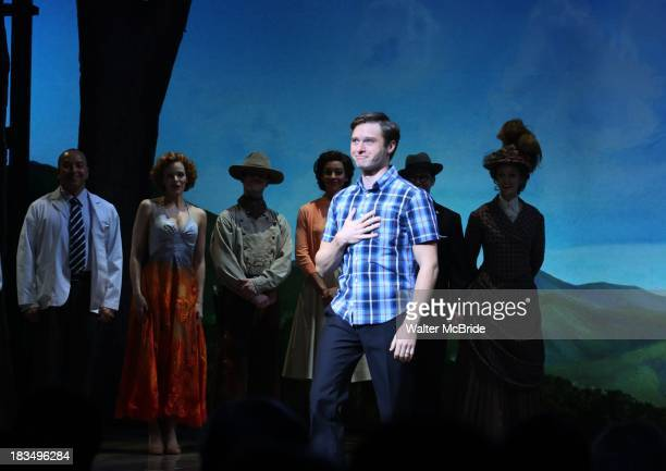 """Bobby Steggert takes a bow during the Curtain Call for the """"Big Fish"""" Broadway Opening Night at Neil Simon Theatre on October 6, 2013 in New York..."""
