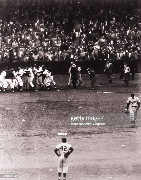 Bobby Thomson has just scored the winning run after hitting a home run in a playoff game for the National League pennant against the Brooklyn Dodgers...