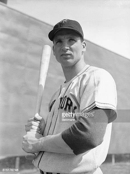 Bobby Thomson, New York Giants outfielder, gets the swing of the bat before an exhibition game with the Chicago White Sox here in Phoenix, where the...