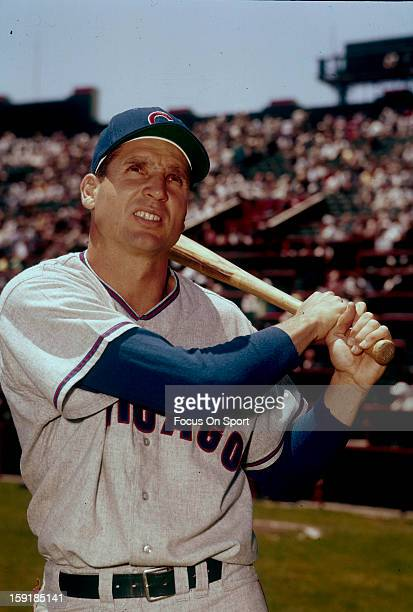 Bobby Thomson of the Chicago Cubs poses for this photo before a Major League Baseball game circa 1959. Thomson played for the Cubs from 1958-59.