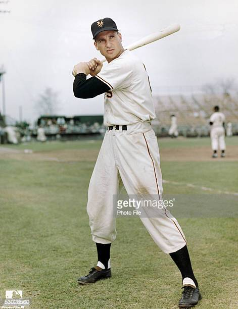 Bobby Thomson of the New York Giants poses for an action portrait during a season game. Bobby Thomson played for the New York Giants from 1946-1953.