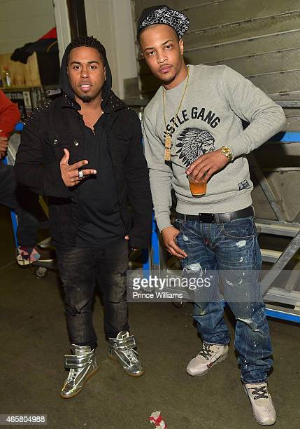 Bobby V and TI backstage at Trey Songz and Chris Brown in concert at Phillips Arena on March 2 2015 in Atlanta Georgia