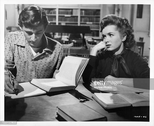 Bobby Van and Debbie Reynolds at the library in a scene from the film 'The Affairs Of Dobie Gillis' 1953