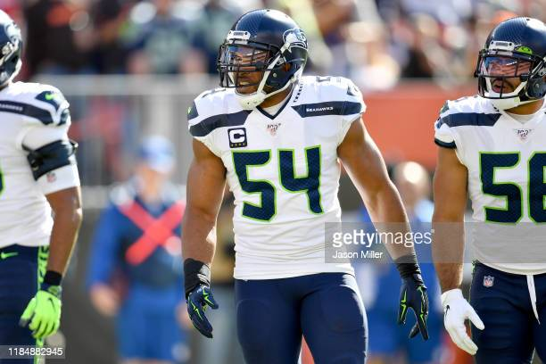 Bobby Wagner of the Seattle Seahawks during the first half against the Cleveland Browns at FirstEnergy Stadium on October 13, 2019 in Cleveland, Ohio.