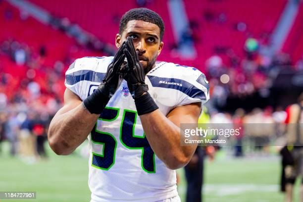 Bobby Wagner of the Seattle Seahawks gestures following a game against the Atlanta Falcons at MercedesBenz Stadium on October 27 2019 in Atlanta...