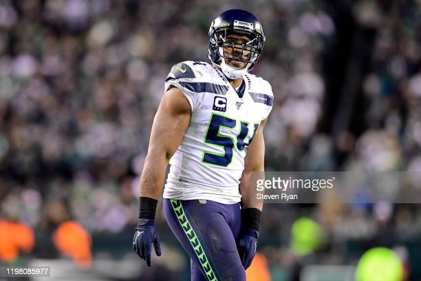 Bobby Wagner of the Seattle Seahawks looks on against the Philadelphia Eagles in the NFC Wild Card Playoff game at Lincoln Financial Field on January...