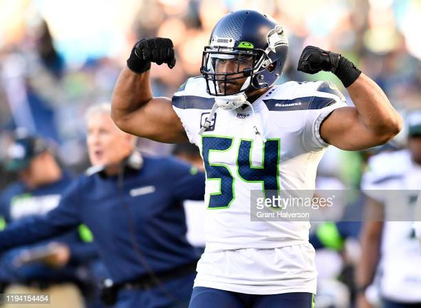 Bobby Wagner of the Seattle Seahawks reacts after a touchdown against the Carolina Panthers during the fourth quarter of their game at Bank of...