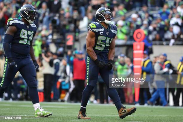 Bobby Wagner of the Seattle Seahawks reacts after sacking Jameis Winston of the Tampa Bay Buccaneers in the fourth quarter at CenturyLink Field on...