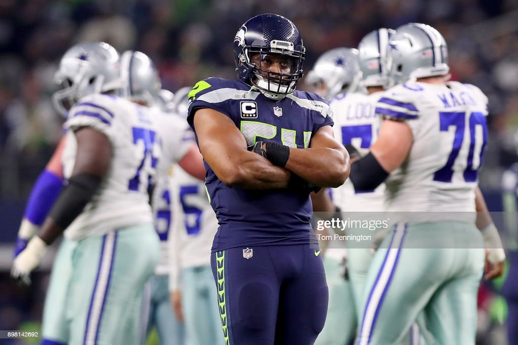 Bobby Wagner #54 of the Seattle Seahawks reacts after the Dallas Cowboys missed a field goal in the fourth quarter at AT&T Stadium on December 24, 2017 in Arlington, Texas.