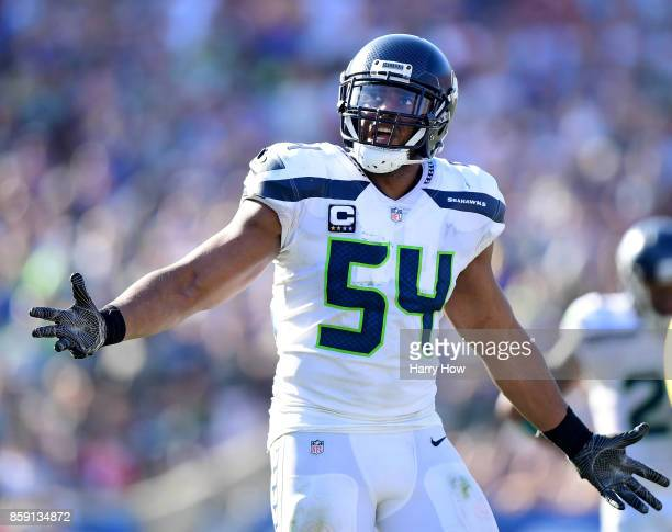 Bobby Wagner of the Seattle Seahawks reacts to his pass interfence during the fourth quarter in a 1610 Seahawks win over the Los Angeles Rams at Los...