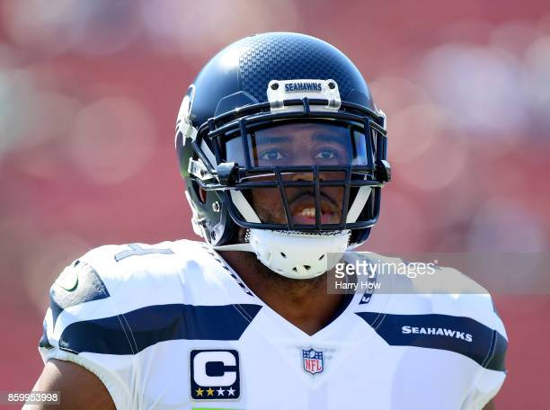 Bobby Wagner of the Seattle Seahawks warms up before the game against the Los Angeles Rams at Los Angeles Memorial Coliseum on October 8 2017 in Los...