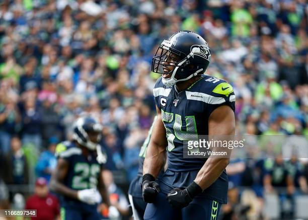 Bobby Wagner of the Seattle Seahawks yells in the fourth quarter against the Cincinnati Bengals at CenturyLink Field on September 8 2019 in Seattle...