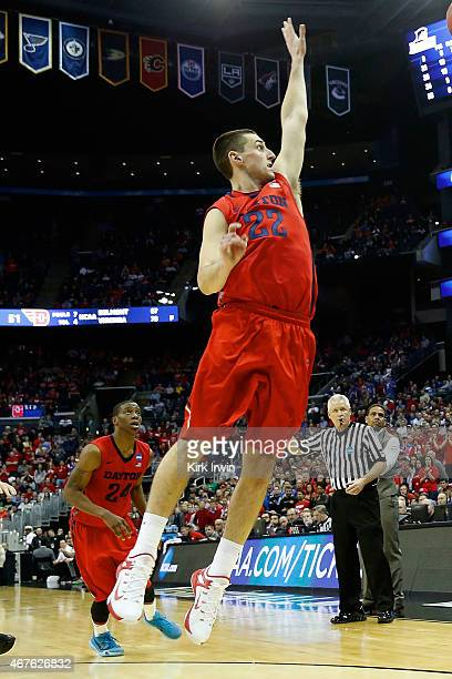 Bobby Wehrli of the Dayton Flyers attempts to block a shot during the second round of the 2015 NCAA Men's Basketball Tournament at Nationwide Arena...