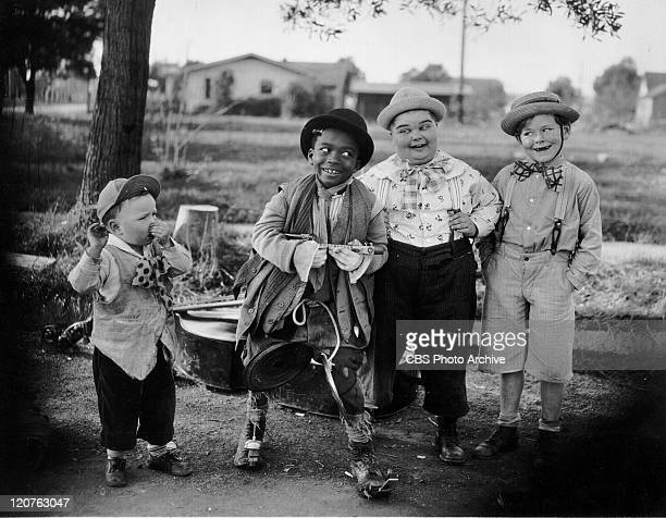 Bobby 'Wheezer' Hoskins Allen 'Farina' Hoskins Joe Cobb and Harry Spear in 'Fast Freight' an Our Gang comedy later to be known as The Little Rascals...