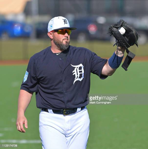 Bobby Wilson of the Detroit Tigers looks on during Spring Training workouts at the TigerTown Complex on February 15 2019 in Lakeland Florida