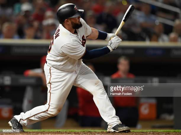 Bobby Wilson of the Minnesota Twins hits a tworun home run against the St Louis Cardinals during the seventh inning of the interleague game on May 15...
