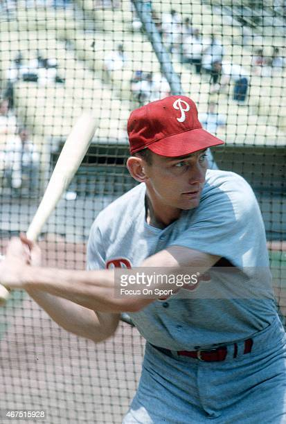 Bobby Wine of the Philadelphia Phillies takes batting practice prior to the start of a Major League Baseball game against the New York Mets circa...