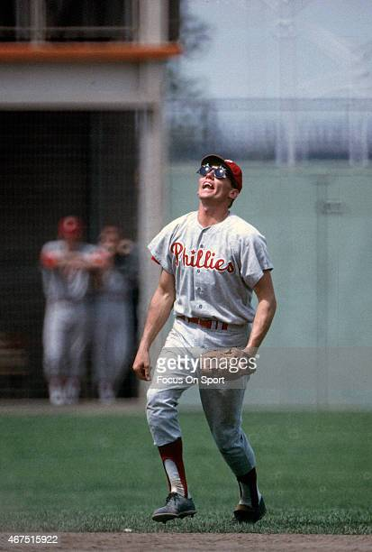 Bobby Wine of the Philadelphia Phillies tracks a popup on the infield against the New York Mets during an Major League Baseball game circa 1964 at...