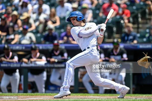 Bobby Witt Jr. #7 of American League Futures Team bats duringa game against the National League Futures Team at Coors Field on July 11, 2021 in...