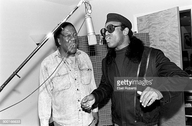 Bobby Womack and Don Covay at Krypton Studio in New York City recording with Paul Shaffer on April 29, 1988.