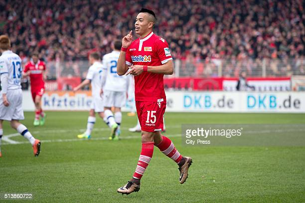 Bobby Wood of 1 FC Union Berlin celebrates after scoring the 30 during the game between Union Berlin and FSV Frankfurt on march 5 2016 in Berlin...