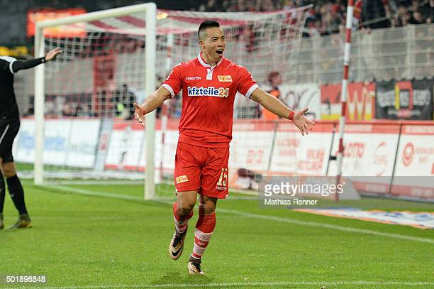 Bobby Wood of 1 FC Union Berlin celebrates during the game between Union Berlin and SV Sandhausen on december 18 2015 in Berlin Germany