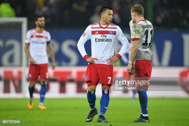 Bobby Wood of Hamburg and Andre Hahn of Hamburg look dejected after the Bundesliga match between Hamburger SV and 1 FC Koeln at Volksparkstadion on...