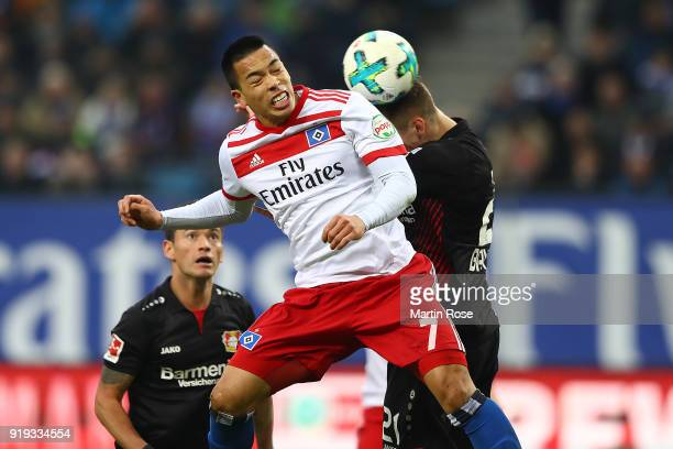 Bobby Wood of Hamburg fights for the ball with Dominik Kohr of Bayer Leverkusen during the Bundesliga match between Hamburger SV and Bayer 04...