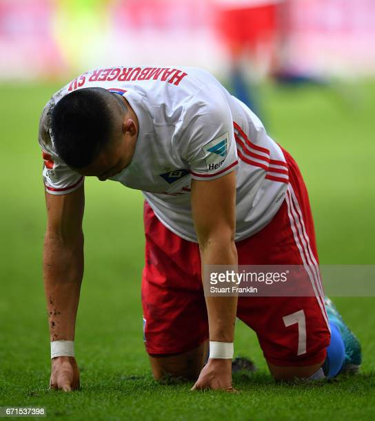 Bobby Wood of Hamburg looks dejected during the Bundesliga match between Hamburger SV and SV Darmstadt 98 at Volksparkstadion on April 22 2017 in...