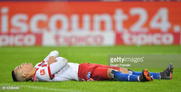 Bobby Wood of Hamburg looks dejected during the Bundesliga match between Hamburger SV and Hannover 96 at Volksparkstadion on February 4 2018 in...
