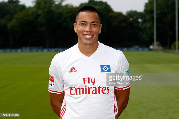 Bobby Wood of Hamburger SV poses during the Hamburger SV Team Presentation at Volksparkstadion on July 25 2016 in Hamburg Germany