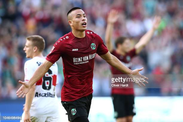 Bobby Wood of Hannover celebrate after his first goal during the Bundesliga match between Hannover 96 and VfB Stuttgart at HDIArena on October 6 2018...