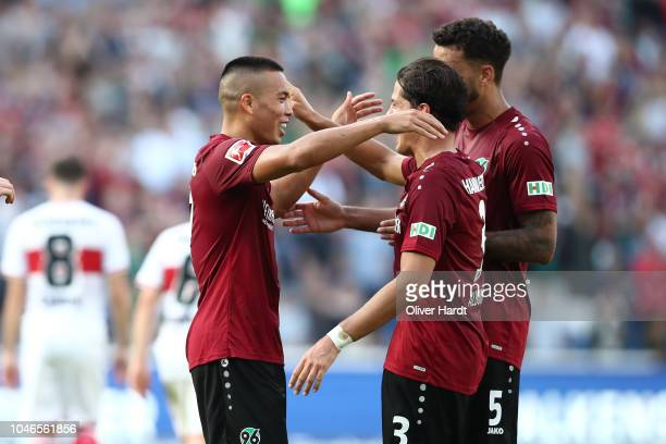 Bobby Wood of Hannover celebrate after his second goal during the Bundesliga match between Hannover 96 and VfB Stuttgart at HDIArena on October 6...