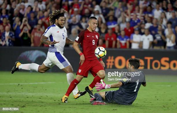 Bobby Wood of the United States attempts a shot during the final round qualifying match against Panama for the 2018 FIFA World Cup at Orlando City...
