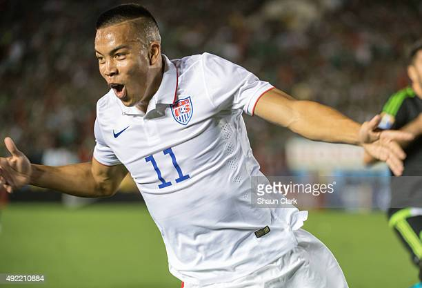 Bobby Wood of the United States celebrates his goal during the CONCACAF Cup between the United States and Mexico at the Rose Bowl on October 10 2015...