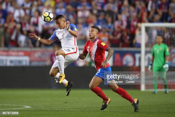 Bobby Wood of the United States challenged by Francisco Calvo of Costa Rica during the United States Vs Costa Rica CONCACAF International World Cup...