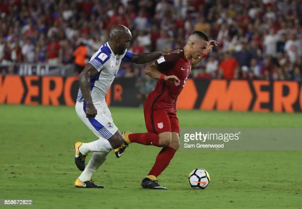 Bobby Wood of the United States controls the ball during the final round qualifying match against Panama for the 2018 FIFA World Cup at Orlando City...