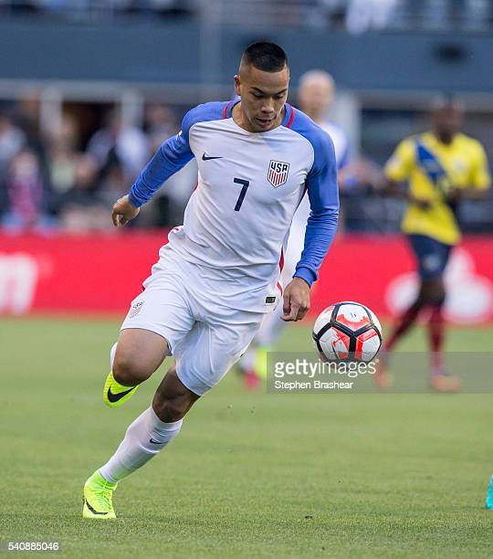Bobby Wood of the United States dribbles the ball during a Quarterfinal match between USA and Ecuador at CenturyLink Field as part of Copa America...