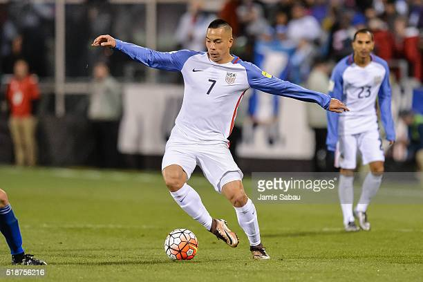Bobby Wood of the United States Men's National Team controls the ball against Guatemala during the FIFA 2018 World Cup qualifier on March 29 2016 at...