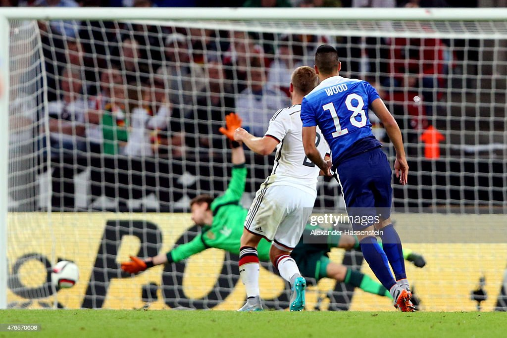 Bobby Wood (#18) of USA scores the 2nd team goal during the international friendly match between Germany and USA at RheinEnergieStadion on June 10, 2015 in Cologne, Germany.