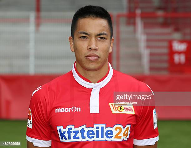 Bobby Wood poses during the offical team presentation of 1FC Union Berlin at Stadion an der Alten Foersterei on July 15 2015 in Berlin Germany